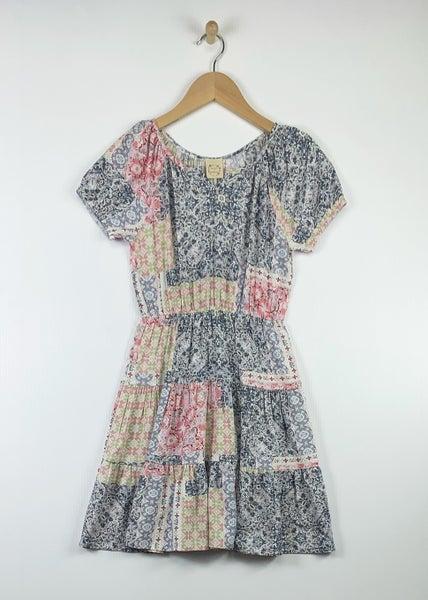 Heart & Arrow Mixed Print Tiered Dress