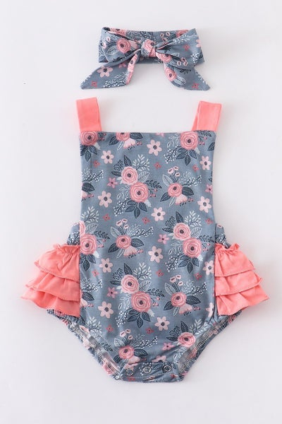 Grey/Pink Floral Bubble with Headband