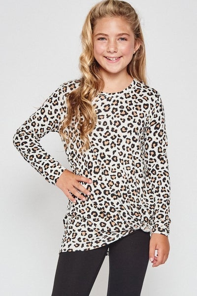 Ivory Cheetah Side Knot Top