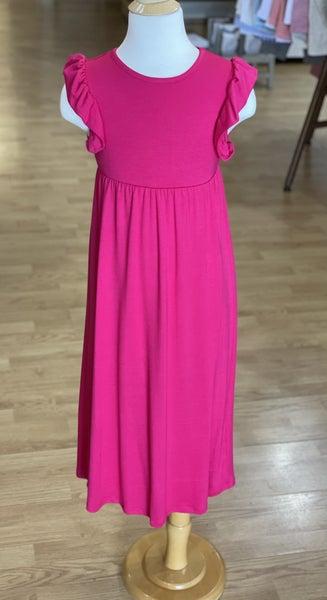 Tween Hot Pink Ruffle Maxi Dress