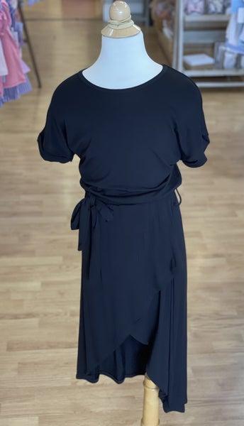 Tween Black Wrap Dress