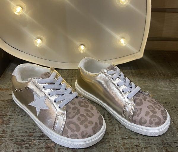 Girls MIA Gold Leopard Jonny Sneakers