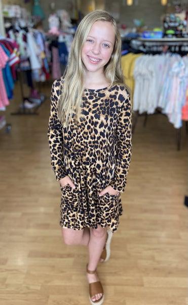 Tween Leopard Swing Dress with Pockets