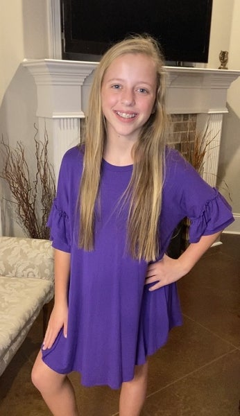 Purple Ruffle Sleeve Dress