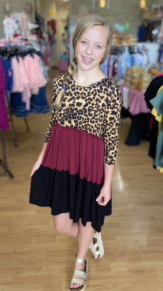 Tween Burgundy Leopard Color Block Dress