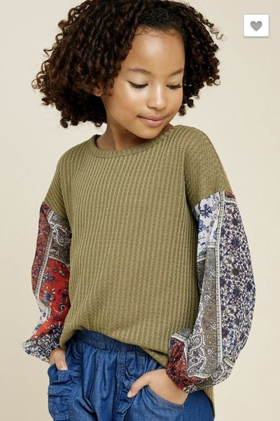 Tween Waffle Knit Patchwork Top- Olive