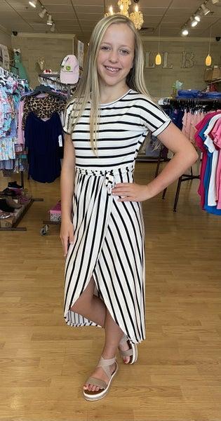 Black/White Striped Maxi Dress