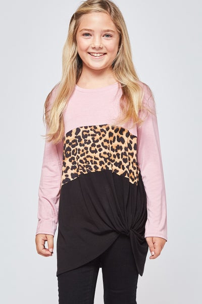 Pink/Leopard Side Knot Top