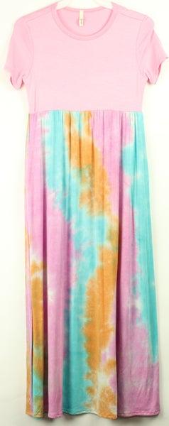 Tween Pink/Aqua Tie Dye Maxi Dress