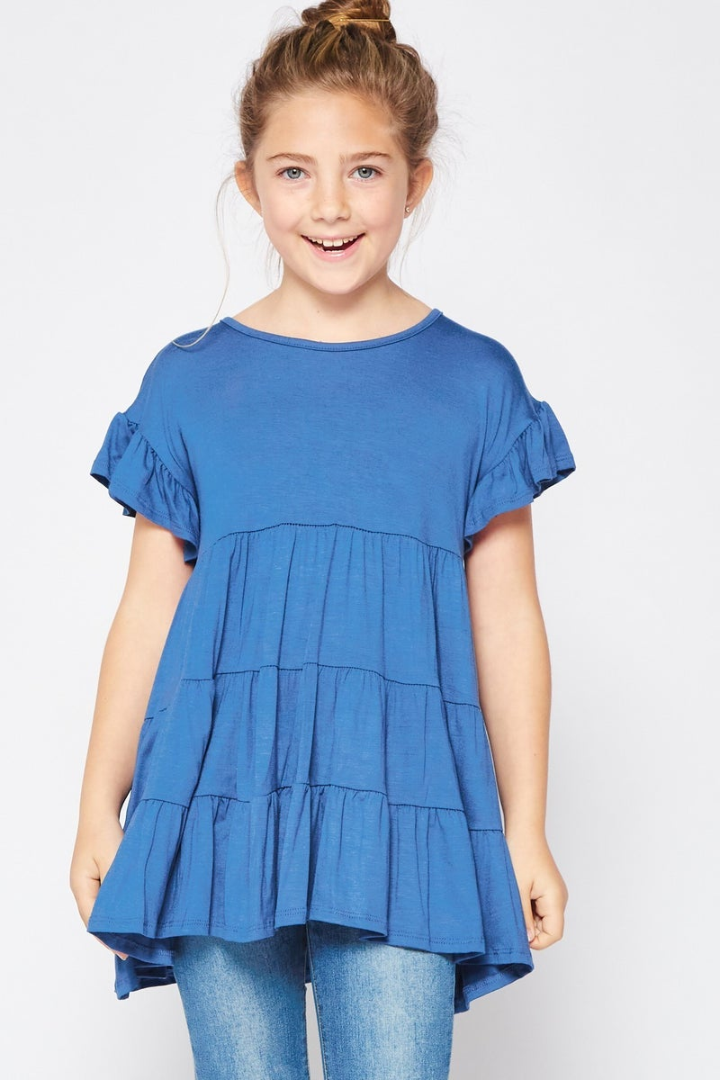Tween Denim Blue Baby Doll Tunic Top