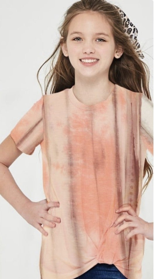 Coral/Brown Tie Dye Side Knot Top