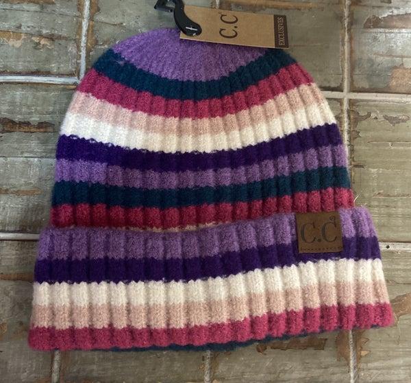 Purple Stripe CC Beanie