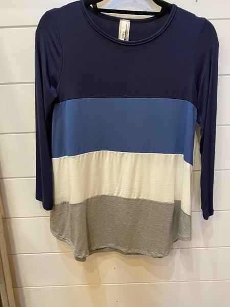 Navy, Blue, Grey Color Block Top