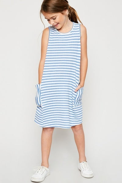 Tween Blue Stripe Tank Dress