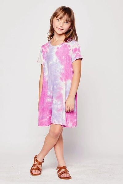 Tween Pink/Purple Tie Dye Swing Dress