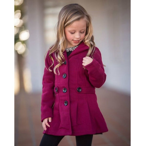 Burgundy Fitted Pea Coat