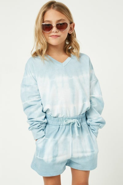 Blue Tie Dye V Neck Top