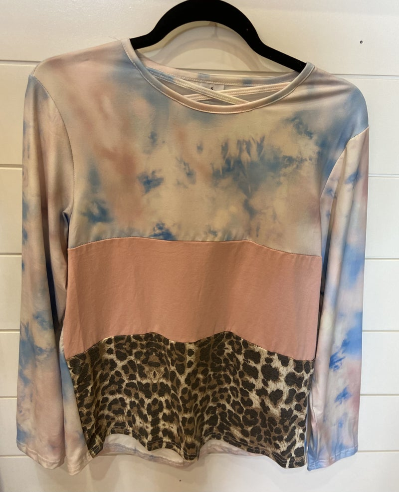 Pink/Blue Tie Dye & Leopard Color Block Top