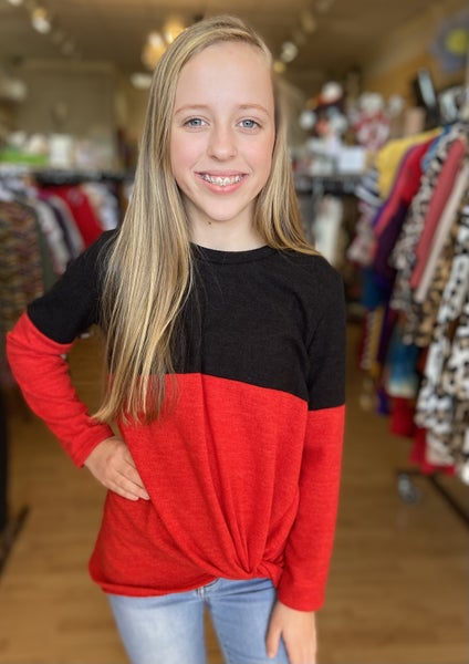 Black/Red Color Block Sweater Top
