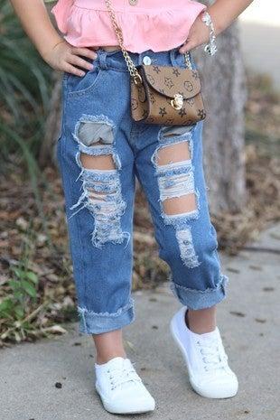 Denim Distressed Capri Jeans