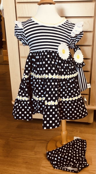 Bonnie Baby Navy Dress with Sunflowers