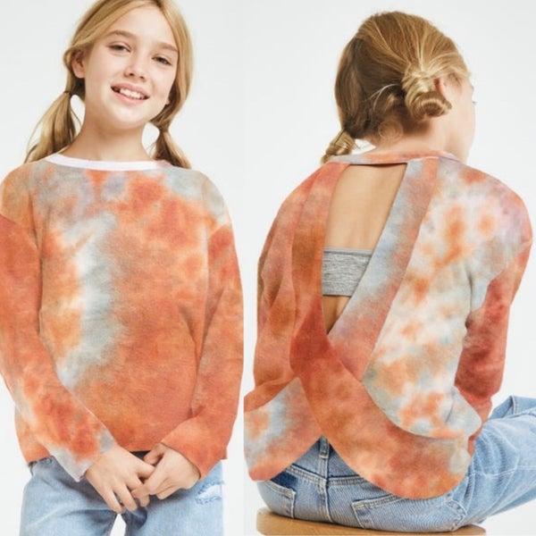 Rust/Blue Tie Dye Open Back Knit Sweater