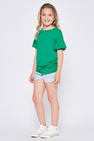 Kelly Green Ruffle Sleeve Top