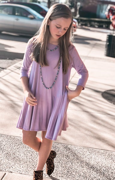 Lavender A Line Dress with Pockets