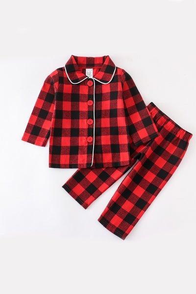 Boys Red/Black Plaid Pajama Set
