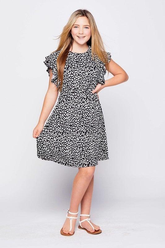 Black Leopard Ruffle Sleeve Dress