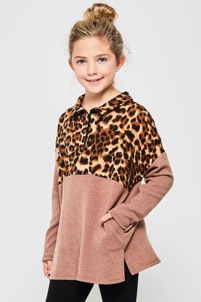 Leopard/Mocha Color Block Pullover