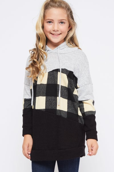 Black/White Plaid Sweater Hoodie