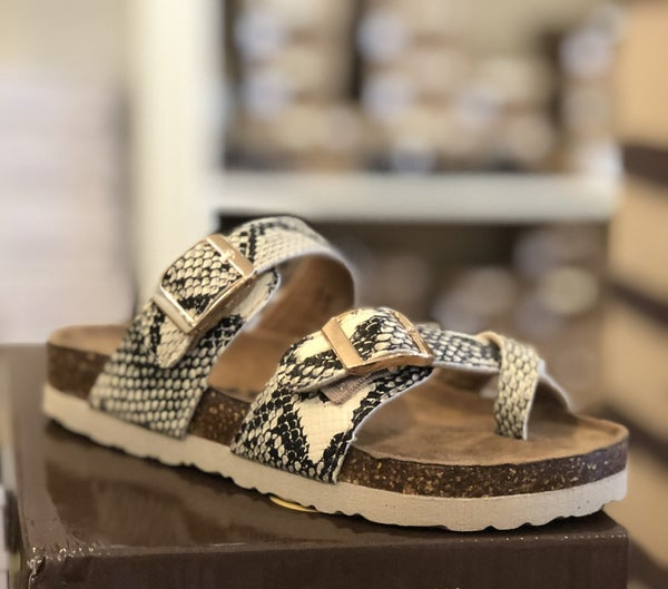 Girls Snake Skin Birkenstock Inspired Sandals