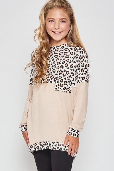 Leopard/Taupe Color Block Top