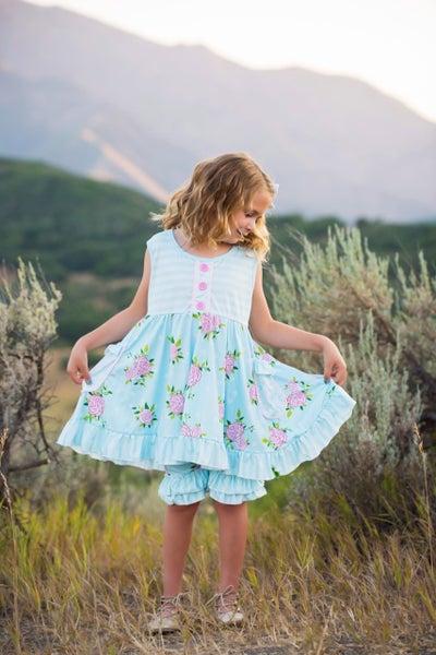 Light Blue Floral Pocket Shorts Set