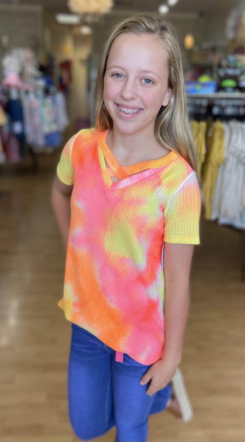 Tween Waffle Tie Dye Criss Cross Top-Coral/Yellow