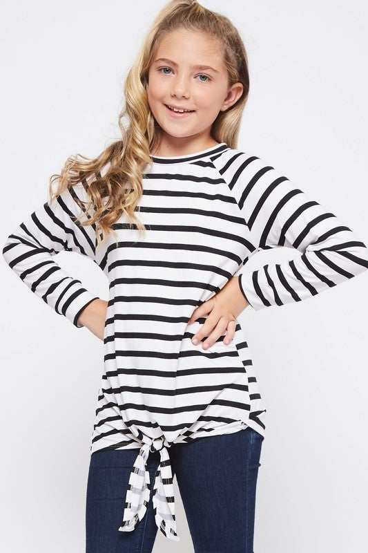 White/Black Stripe Front Tie Top