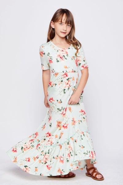 Tween Mint Floral Tiered Maxi Dress