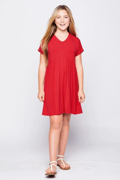 Red Short Sleeve Baby Doll Dress
