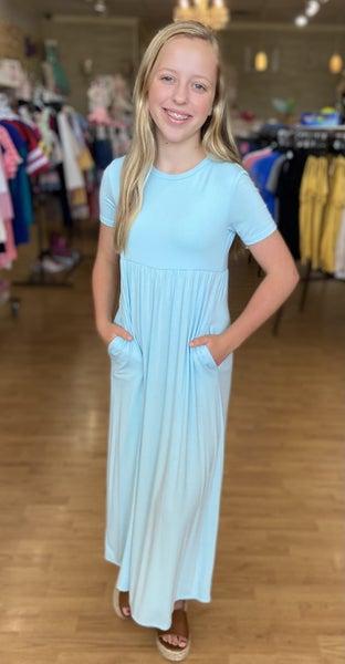 Light Blue Maxi Dress with Pockets