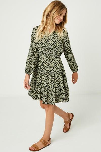 Tween Olive Smocked Waisted Ruffle Dress