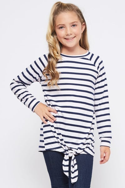 Navy/White Stripe Front Tie Top
