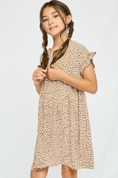 Tween Taupe Dotted V Neck Dress