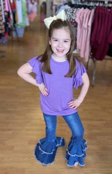 Purple Ruffle Sleeve Top