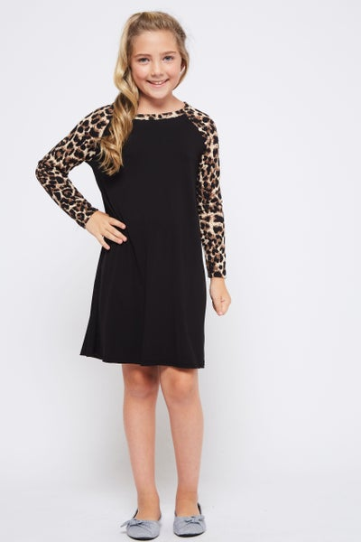 Black Dress with Leopard Sleeve