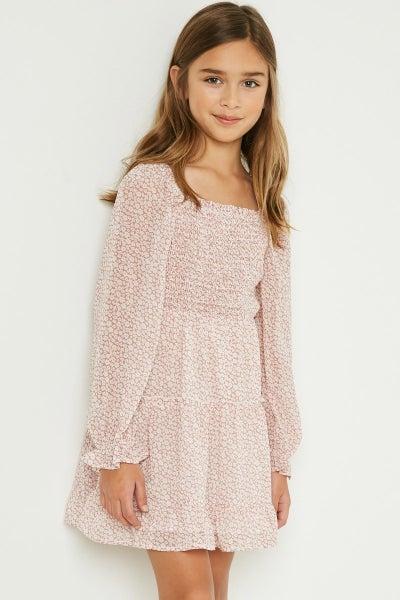 Tween Mauve Square Neck Floral Dress