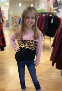 Leopard/Pink Side Knot Top- LAST ONE LEFT