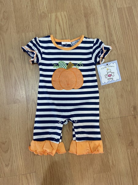 Three Sister's Girls Pumpkin Romper