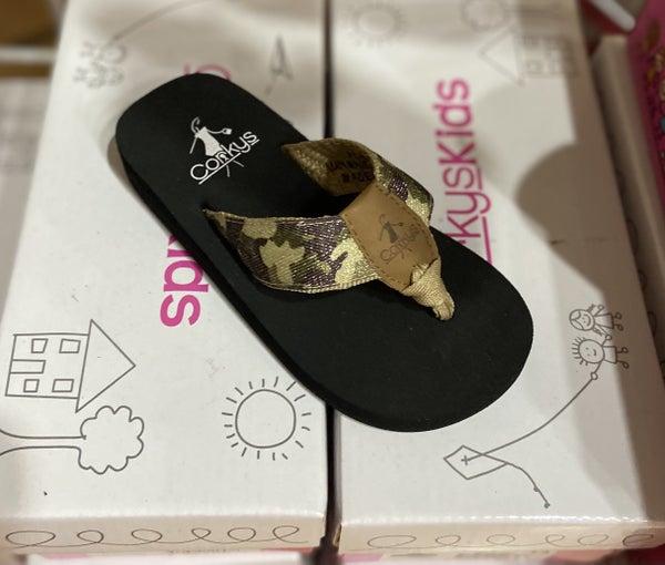 Kids Corkys Flip Flops- Camo