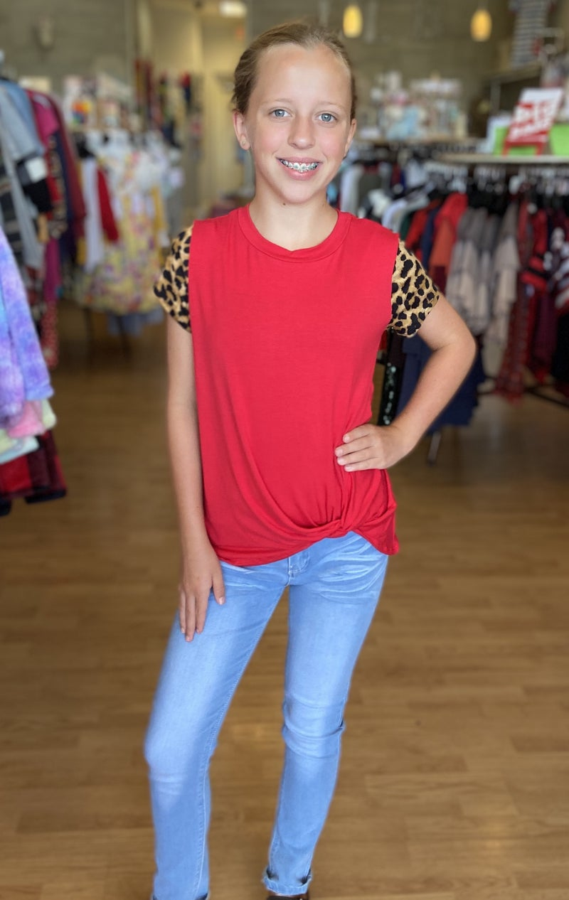 Red Leopard Sleeve Top